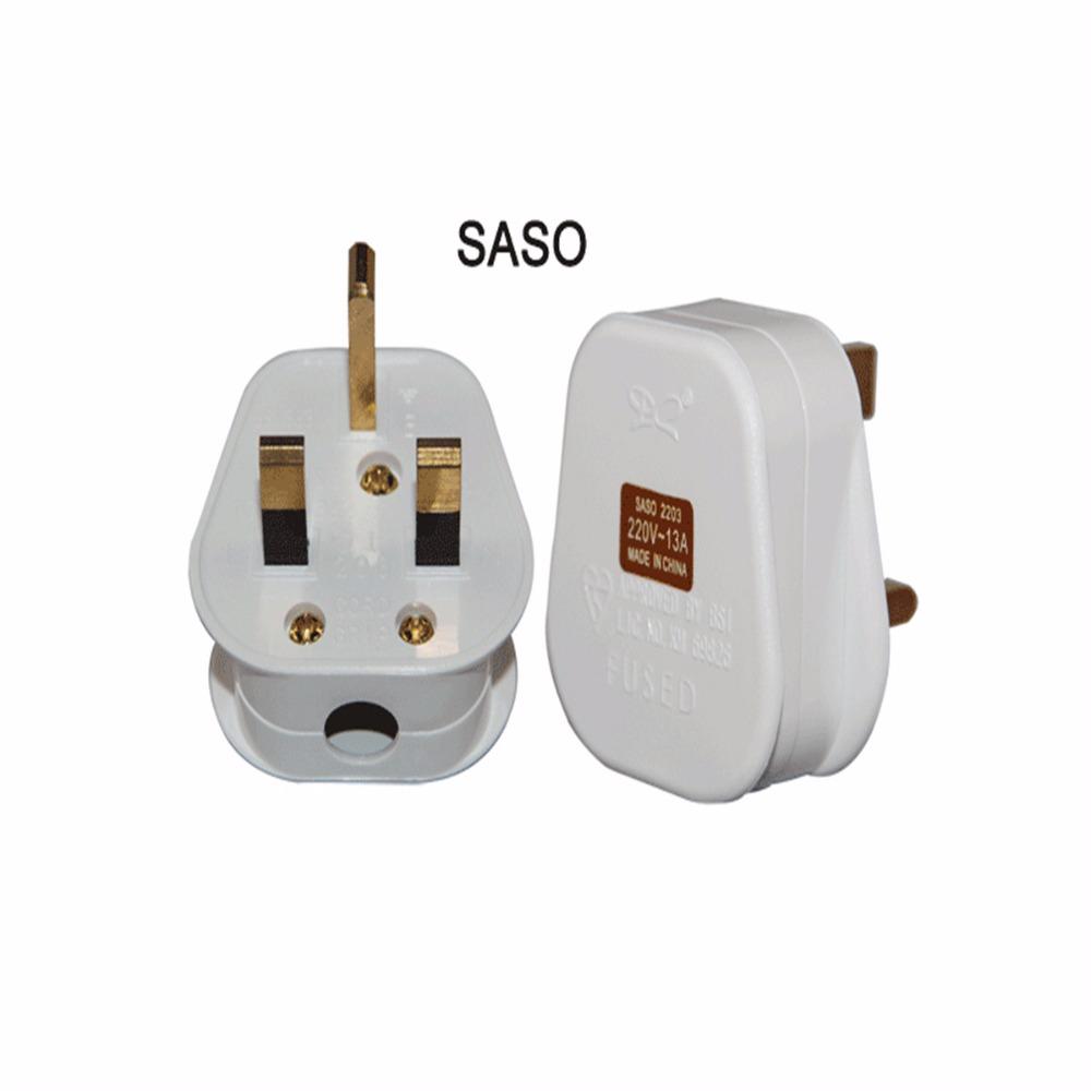 Saudi Arabia Electric Plug 3 Flat Pin With Fused Saso Roval