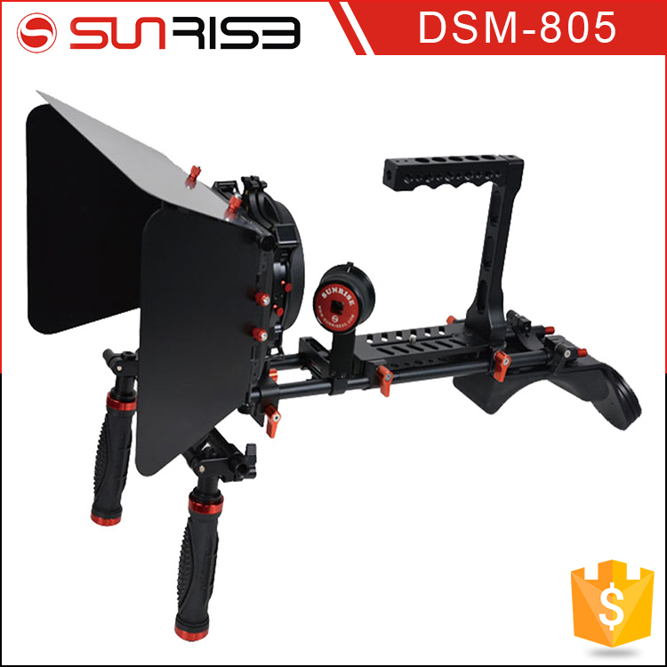 SUNRISE Camera Shoulder Stabilizer DSLR Rigs + Matte Box For Canon Nikon DSLR