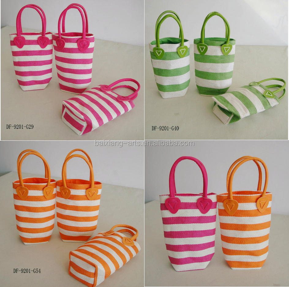 Promotional paper straw bag Kids straw tote bag