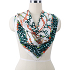 New Twill Square Hand Rolled Silk Printed Scarf For Women