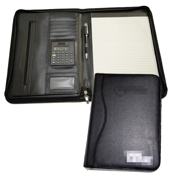 Customized professional executive a4 leather zippered padfolio legal size