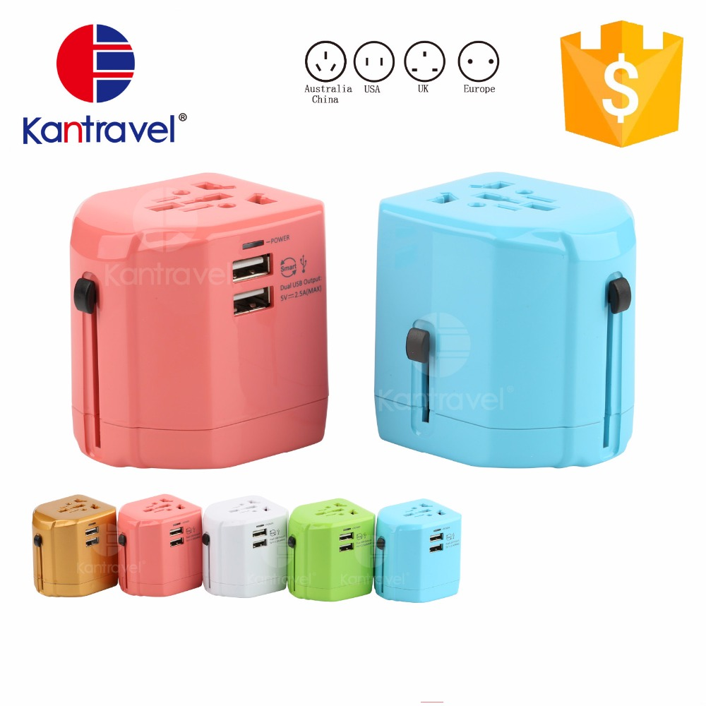 All in One Universal International Plug Adapter 2 USB Port World Travel AC Power Charger Adaptor with AU US UK EU Plug