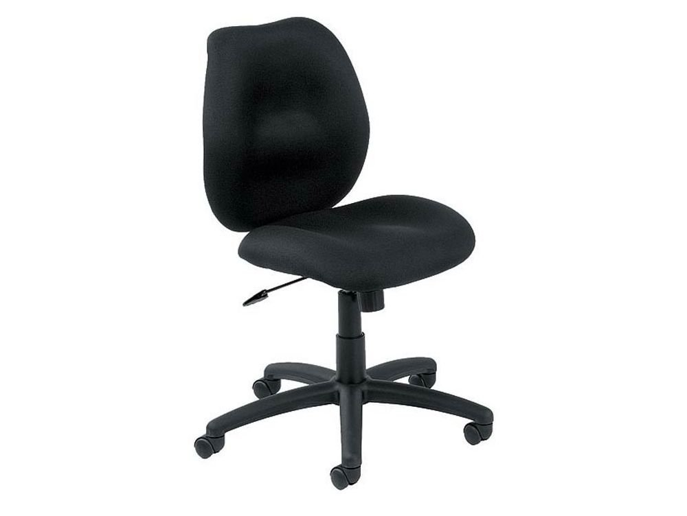 """Locke Fabric Armless Mid-Back Computer Chair Dimensions: 19.5""""W x 23.5""""D x 34.5-38""""H Seat Dimensions: 20""""Wx19.5""""Dx18-22""""H Weight: 50 lbs. Black Fabric"""