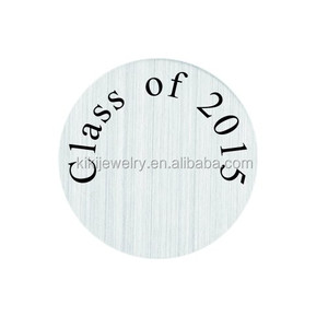 Nickle Free Lead Free 316L Stainless Steel Class of 2015 Glass Living Plates Charm