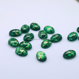 10*14mm Oval Cabochon Green Synthetic Opal Resin Stone