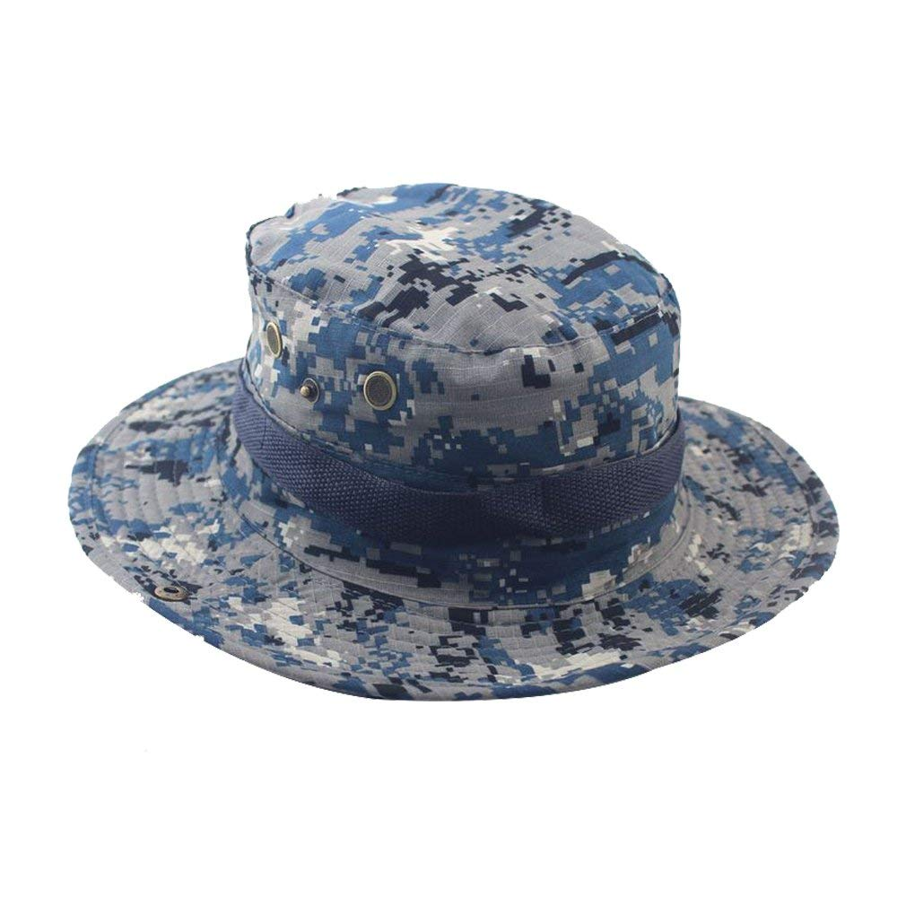 e4b7ed0e7be Get Quotations · MAIYU Boonie Hat Military Waterproof Cap Woodland Camo  Fishing Bucket Hat With String Snap Brim Hat