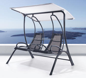 Hot Sale Outdoor Patio Garden Steel PVC Mesh Fabric Double Swing Chair, KD