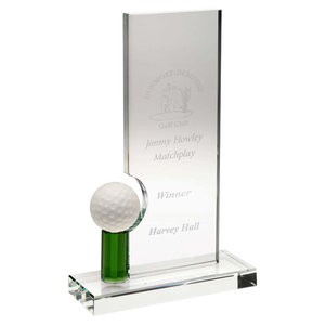 Clear Green Glass Golf Plaque