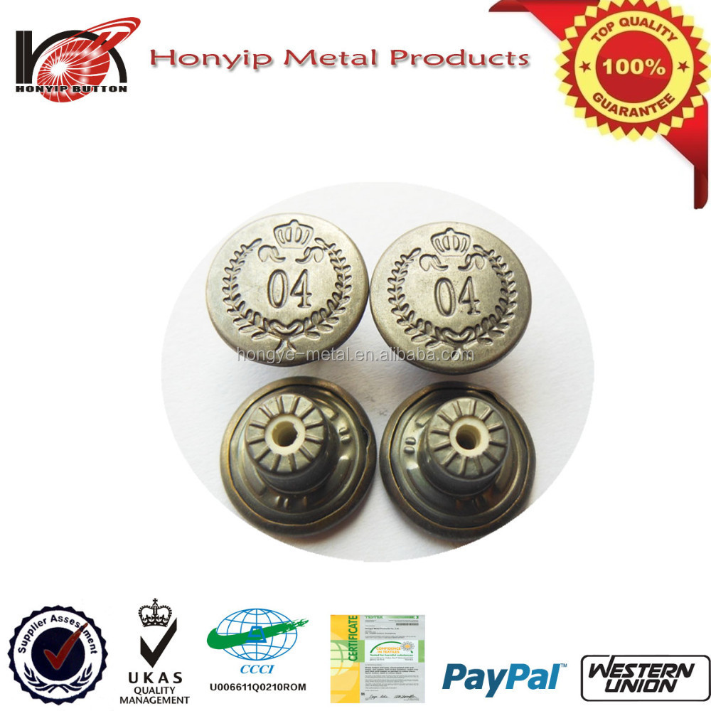 Customzied plain metal jean buttons for parka