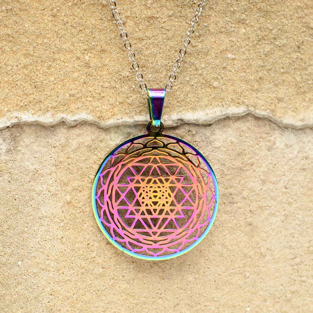Rainbow Colored Stainless Steel Sri Yantra Pendant - Buy Sri Yantra  Pendant,Stainless Steel Sri Yantra Pendant,Stainless Steel Pendant Product  on