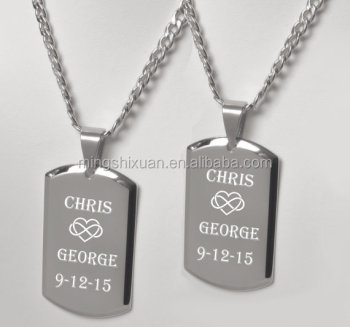 3fe8e06d80 His And Hers Necklaces, Personalized High Polished Couples Dog Tag Necklace  Set Custom Engraved Free