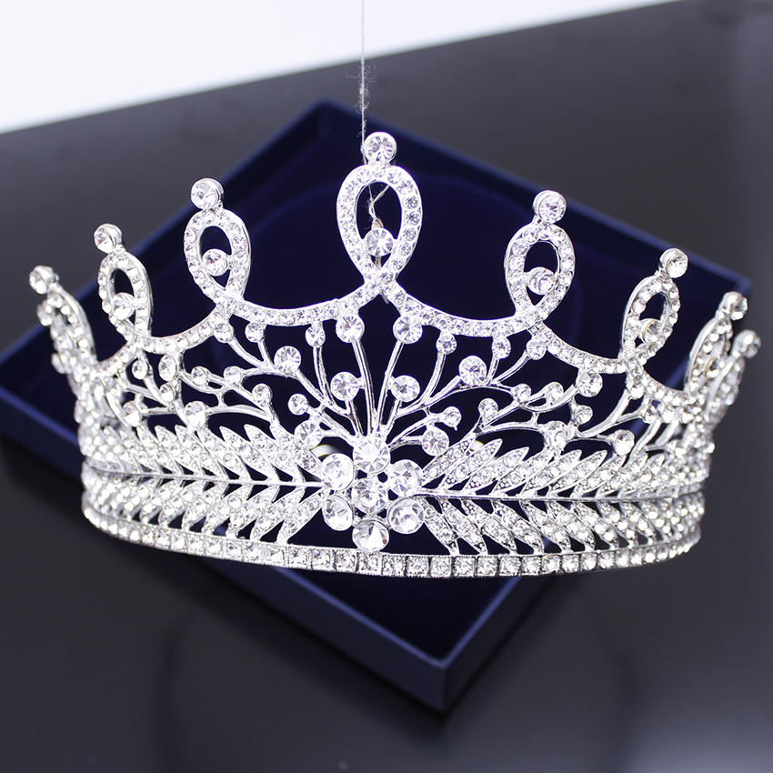 Hot sale wedding hair jewelry tiara large pageant crowns birthday gift for girls