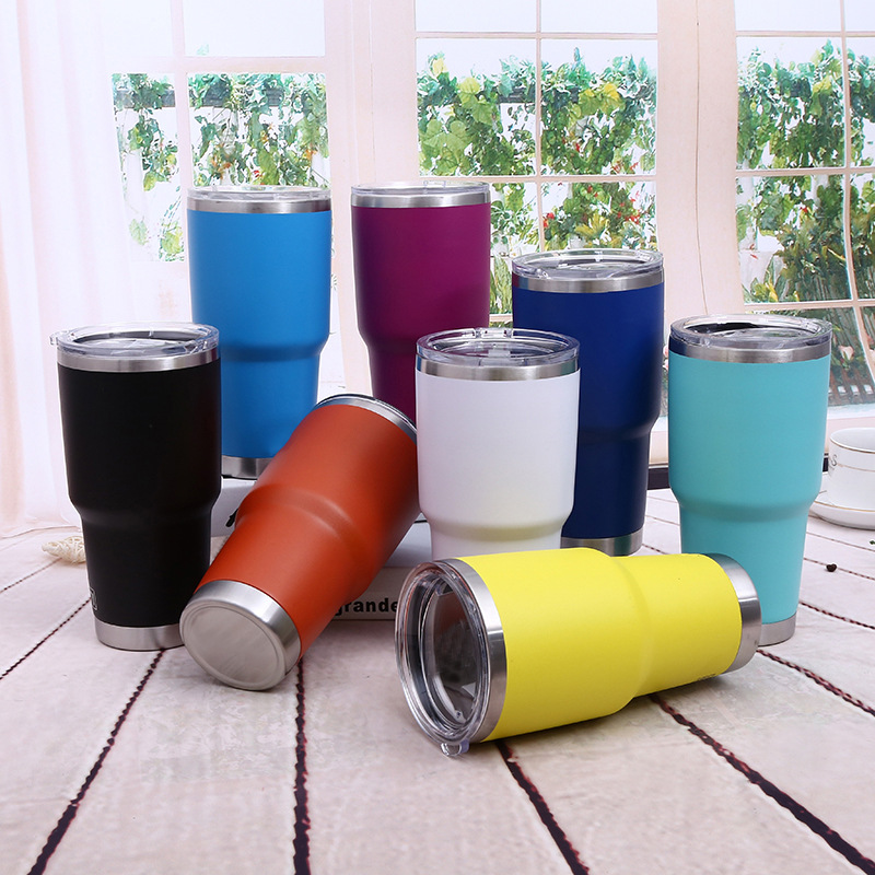 wholesale  Custom powder coated vacuum tumbler coffee cups 30oz Insulated stainless steel tumbler for beer