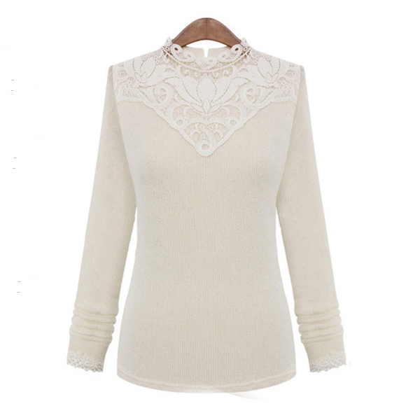 2 Color 2015 Winter Plus Size Gray Beige Cotton Knitted Soft Slim Turtleneck Sexy Solid Color Pullover Fall Women Lace Sweater
