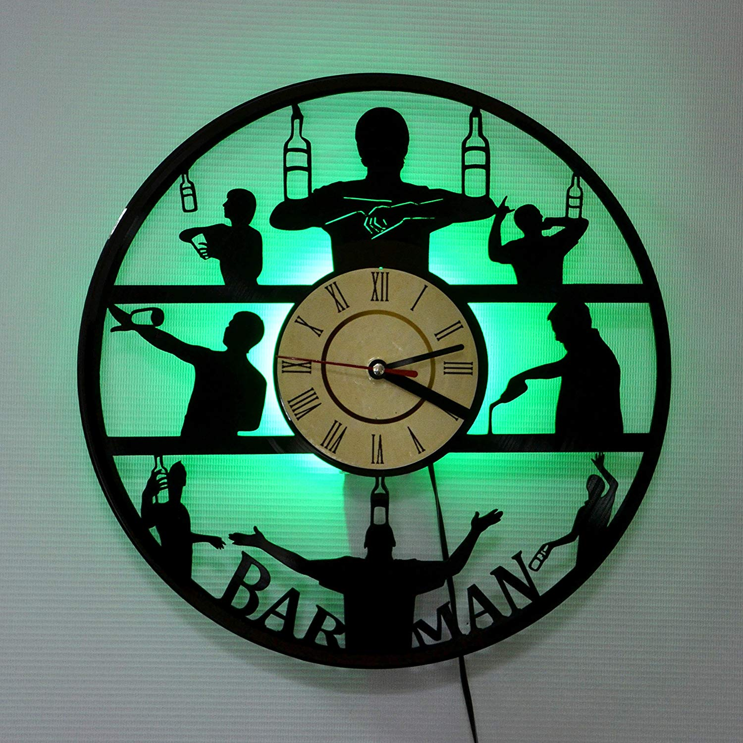 Barmen LED Backlight Vinyl Wall Clock Night Color Change Atmosphere Light Lamp Creative Classic Cool Living Room Interior Decor Led Time Clock With Color Green Light