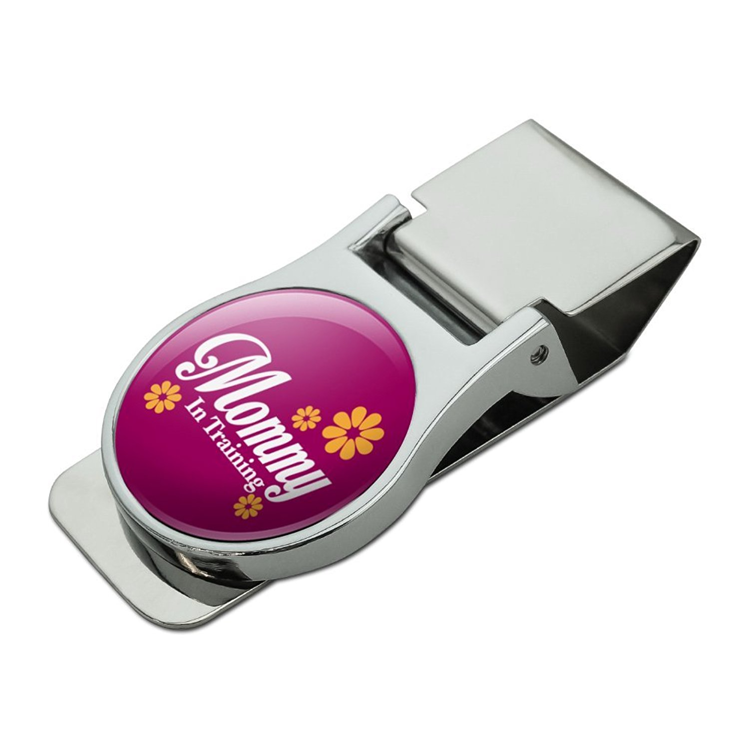 Mother Mom Mommy in Training Satin Chrome Plated Metal Money Clip