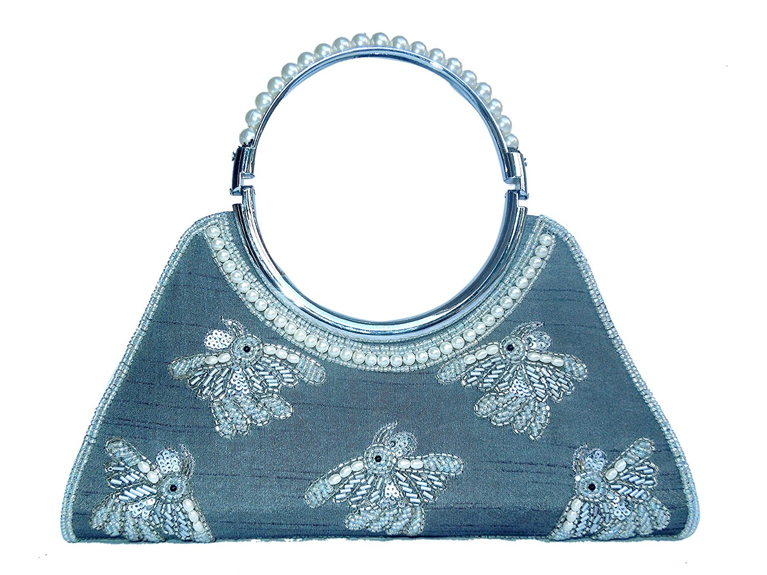 6df655ad8b2 Get Quotations · Spice Art Silver Zardozi Embroidered Silk Clutch for Ladies  with Handle