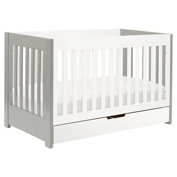 Wooden 3 in 1 Convertible Baby Crib Toddler Bed With Drawer