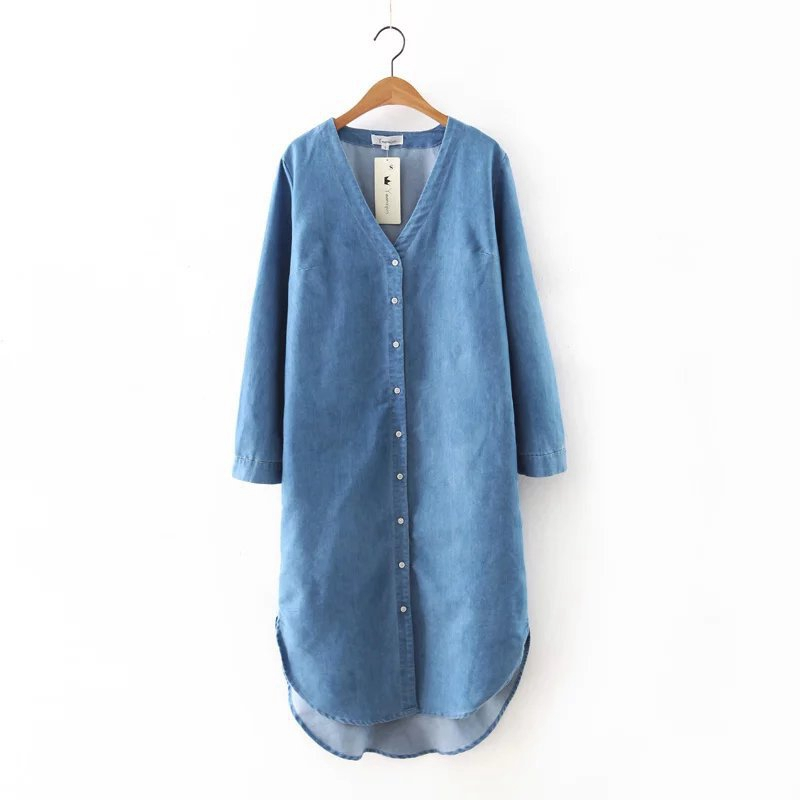 16 New V-neck Simple Casual Long Sleeve Denim Coats