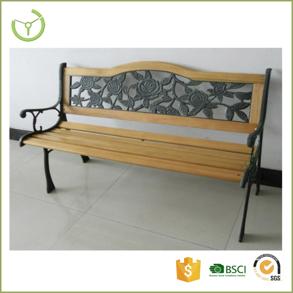 2016 new wood slats cast iron bench garden high quality chair waterproof outdoor park PVC backrest garden chair