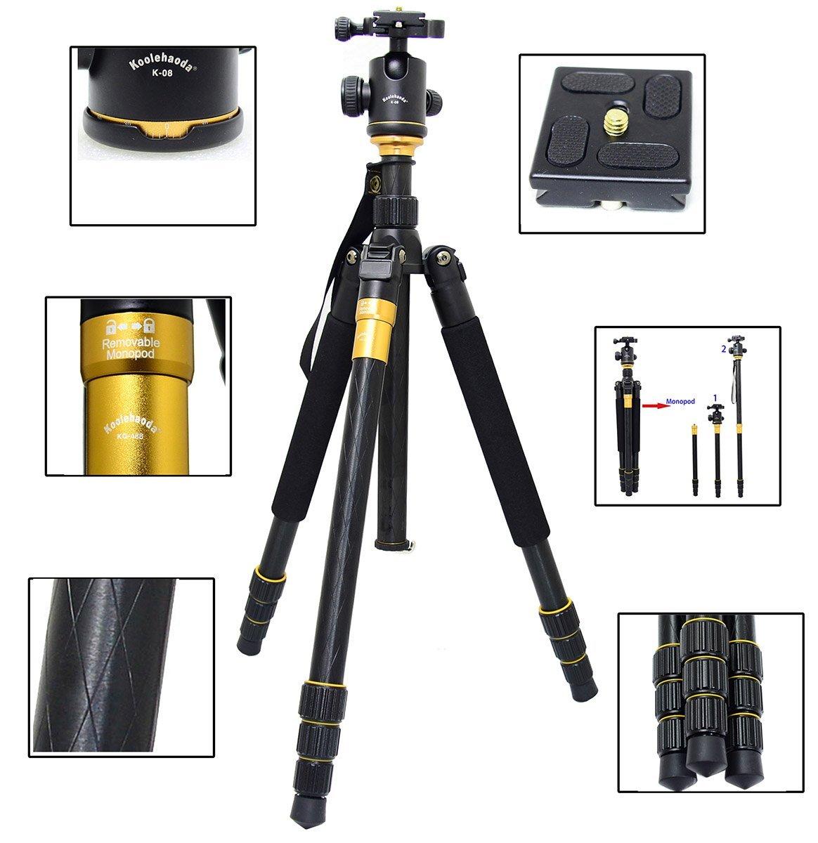 "Koolehaoda Q-999 SLR Camera Tripod Monopod & Ball Head Portable Compact Travel. Tripod Max Height: 1590mm (62.5"")"