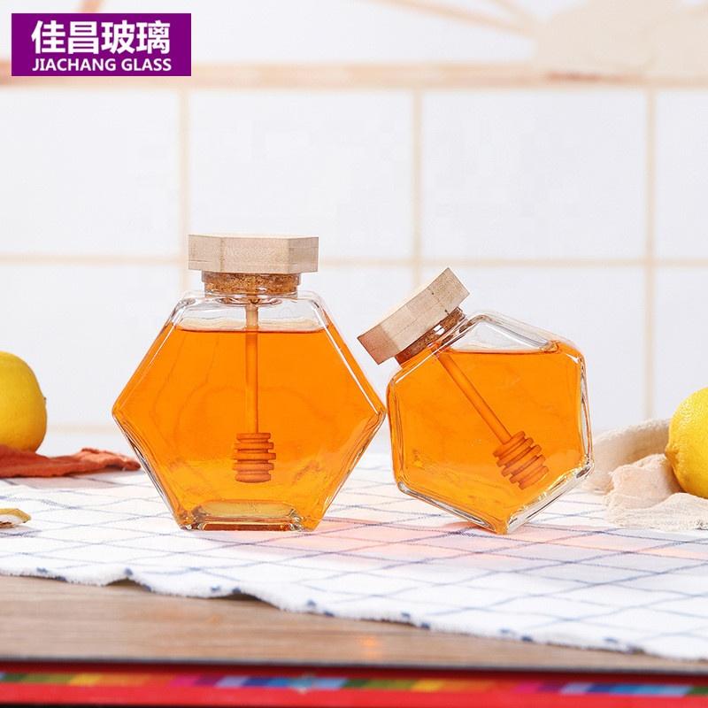 Spot High-Grade Hexagonal Wood Cover Honey Jar with Stirring Rod Glass Jars For Honey