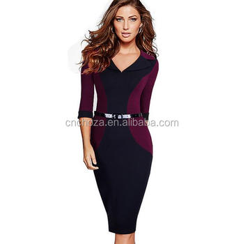 Z58827B Autumn sexy hot style autumn long sleeve fashion office lady wear pencil dress