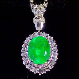 18k Saudi gold gemstone jewelry South Africa real diamond 11.29ct Colombia natural vividgreen emerald pendant ring dual use