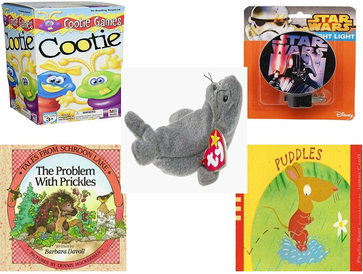 Children's Gift Bundle - Ages 3-5 [5 Piece] - Cootie Game - Star Wars Darth Vader Night Light - Ty Beanie Baby - Slippery the Seal - Tales from Schroon Lake: The Problem with Prickles Hardcover Book