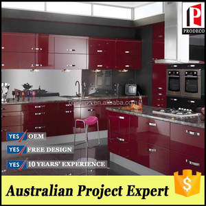 Economic Wine Red Uv Kitchen Cabinet With Wall Hanging Cabinet