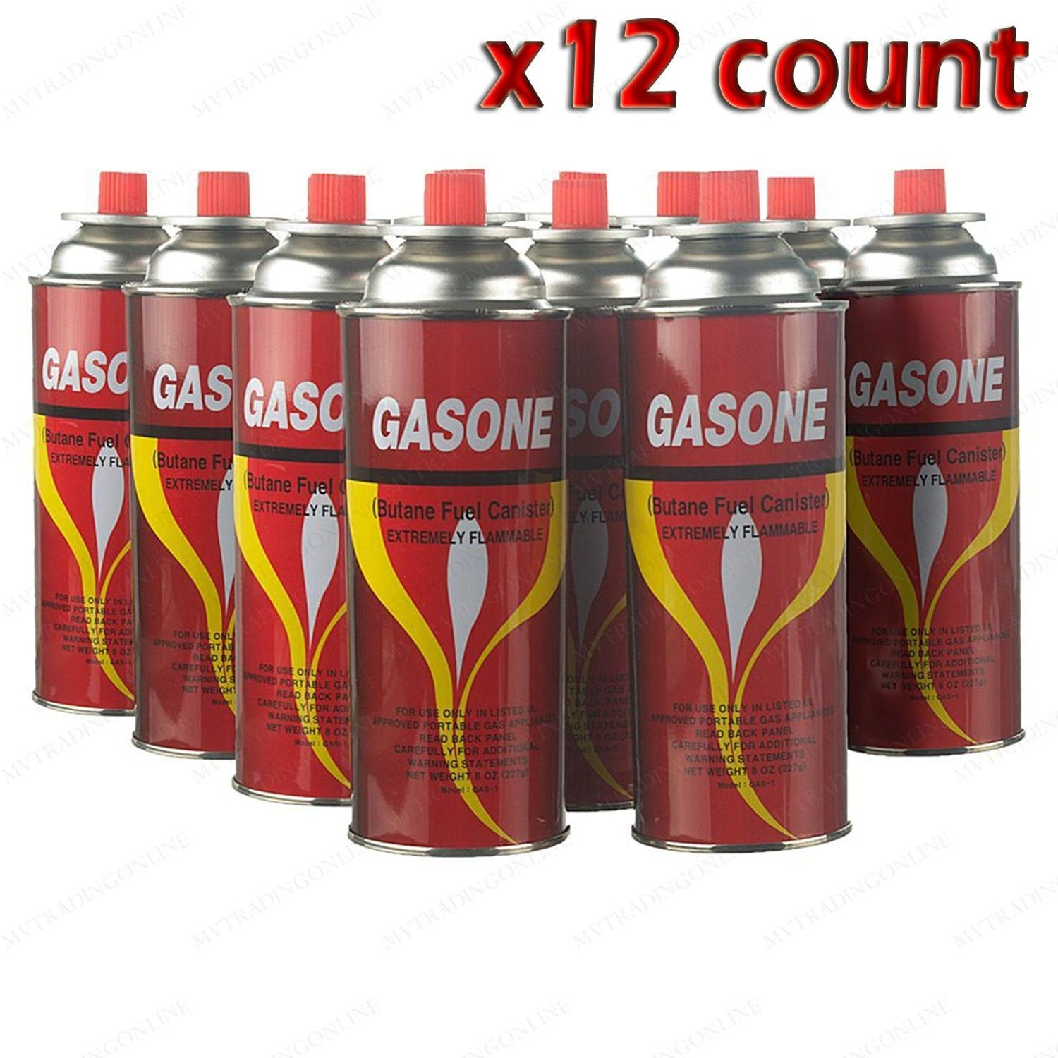 BUTANE FUEL GASONE PORTABLE CAMPING STOVE 8/OZ 12-CANS W/FREE SHIPPING