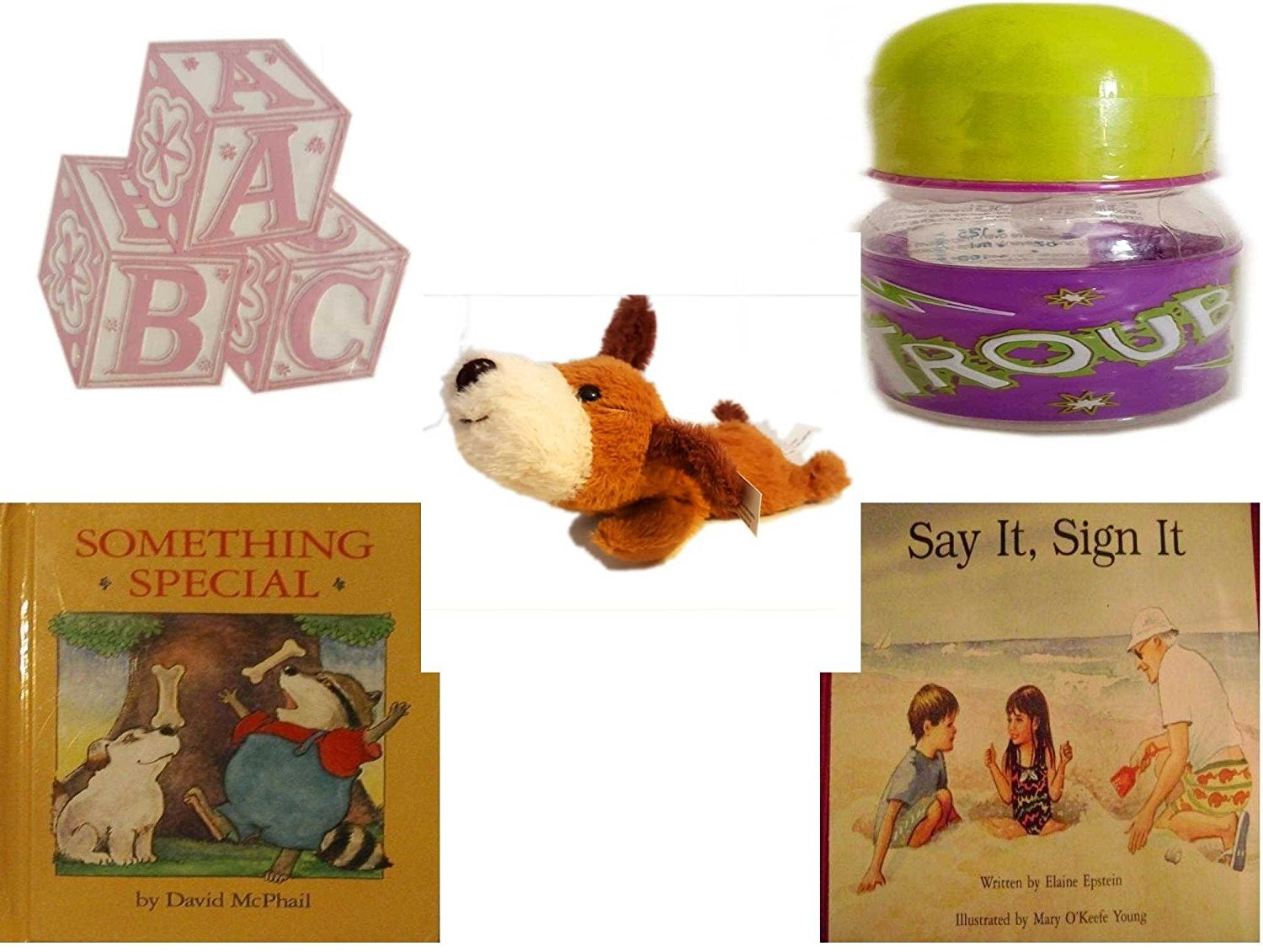Children's Gift Bundle - Ages 0-2 [5 Piece] - ABC Baby Blocks Cake Topper Pink Girl - ID Gear Baby Bottle Trouble 4 oz - Soft n' Cuddly Big Head Puppy - Something Special - Say It, Sign It
