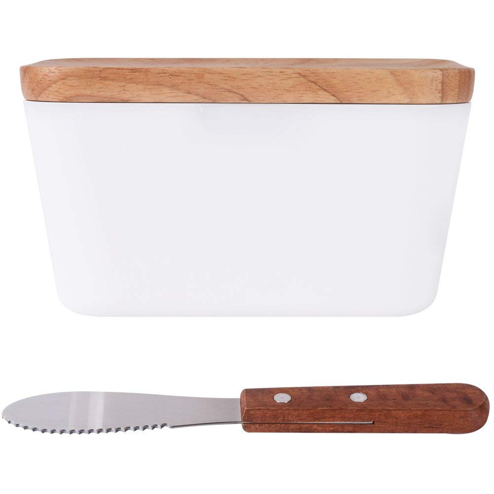 Vencer Country Style Large Butter Dish with Wooden Lid + Butter Knife, Keeps Your Butter Fresh, 400ML VFO-010