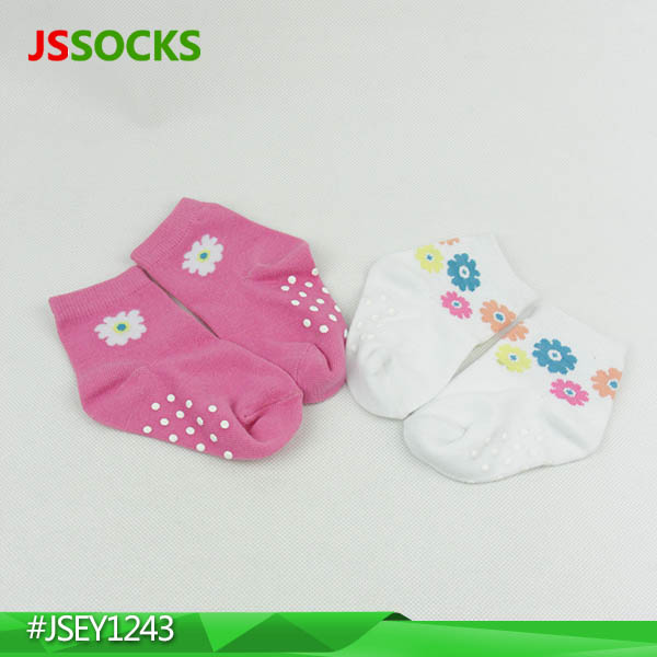 anti slip organic cotton baby socks with pretty flowers on the tube