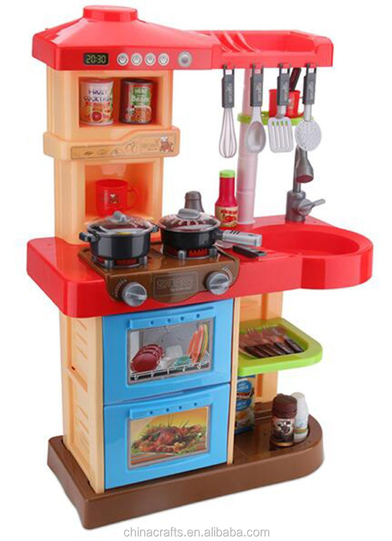 Große Küche Spielzeug Mädchen Kinder Spielen Anzug Zu Kochen Mit Ton ...
