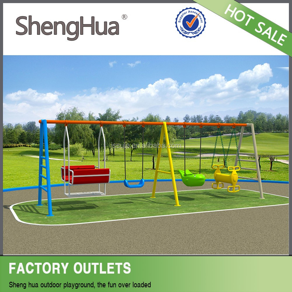 Economic environment outdoor playground plastic slide and swing set for kids