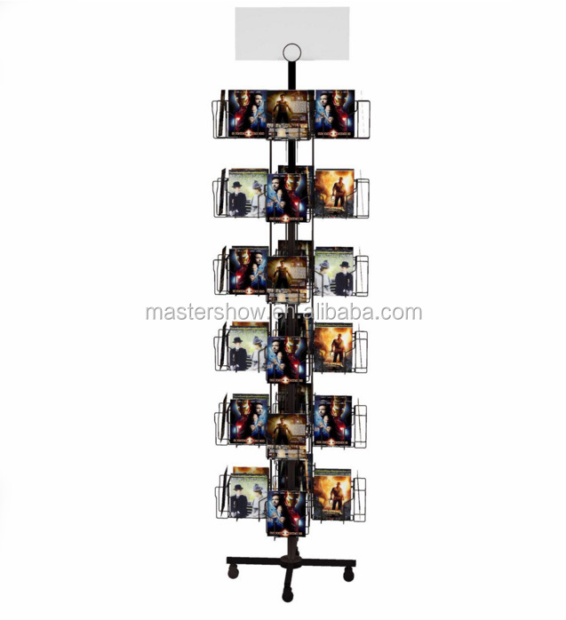 Fashion Style 4 Sides Revolving Postcard Metal Display/ CD Display Racks