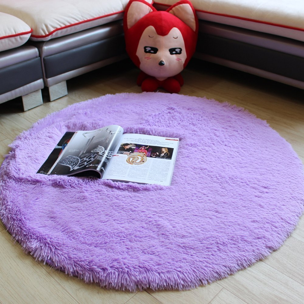 MELIFE Modern Multicolored Simple Round Shaggy Area Rugs and Carpet Super Soft Bedroom Carpet with a Heart Rug, for Kids Play ,Bedroom Carpet Bedside Rugs Home Decor Hardwood Floor Carpet Round 47.2""