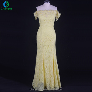2018 China wholesale yellow off shoulder lace mermaid bridesmaid evening dress