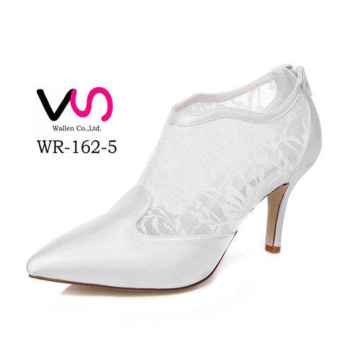 middle high heel pointy toe with lace booti handmade bridal shoes for wedding WR-162-5