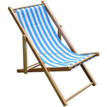 Woodside Foldable Wooden Beach Deck Chair Garden Patio Lounger