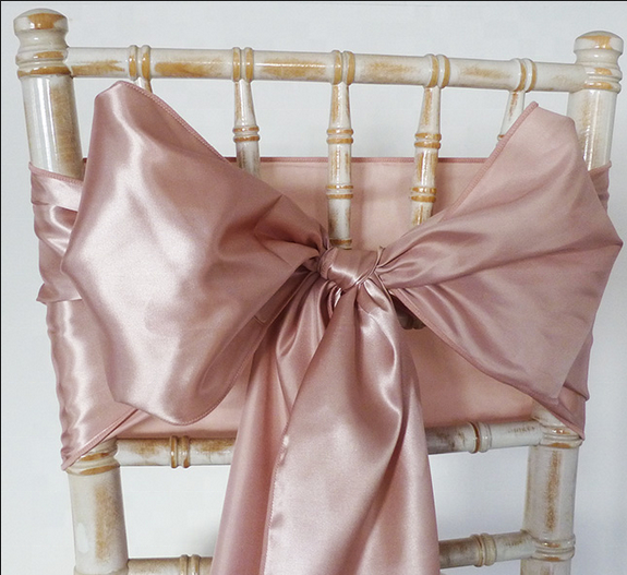 Rose gold wedding satin chair sashes for wedding party