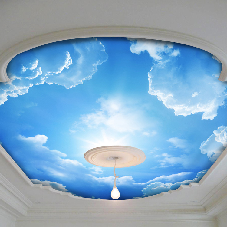 3d Wallpaper Mural Night Clouds Star Sky Wall Paper: Blue Sky And White Cloud Photo Wallpaper Silk Wall Mural