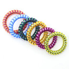 Hot Selling Multicolor TPU Rubber Stretchy Curly Cord Coil Telephone cord Hair Ties For Lady