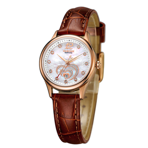New design hot sale luxury leather leisure lady watch