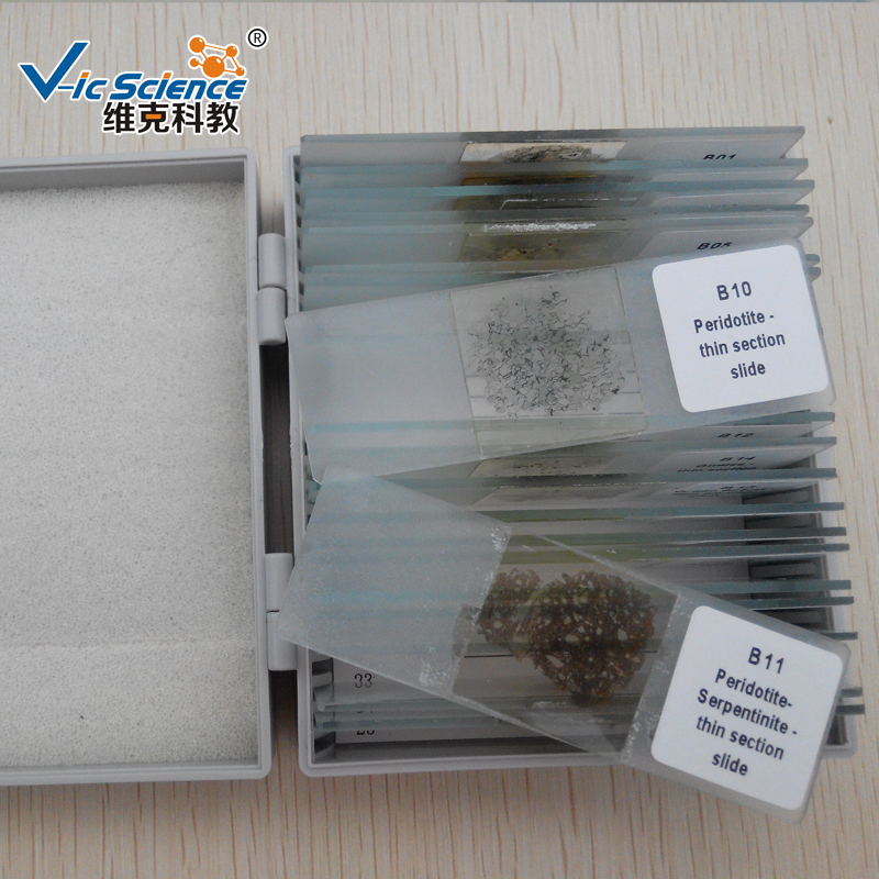 100pcs mineral thin section slide educational prepared slides set