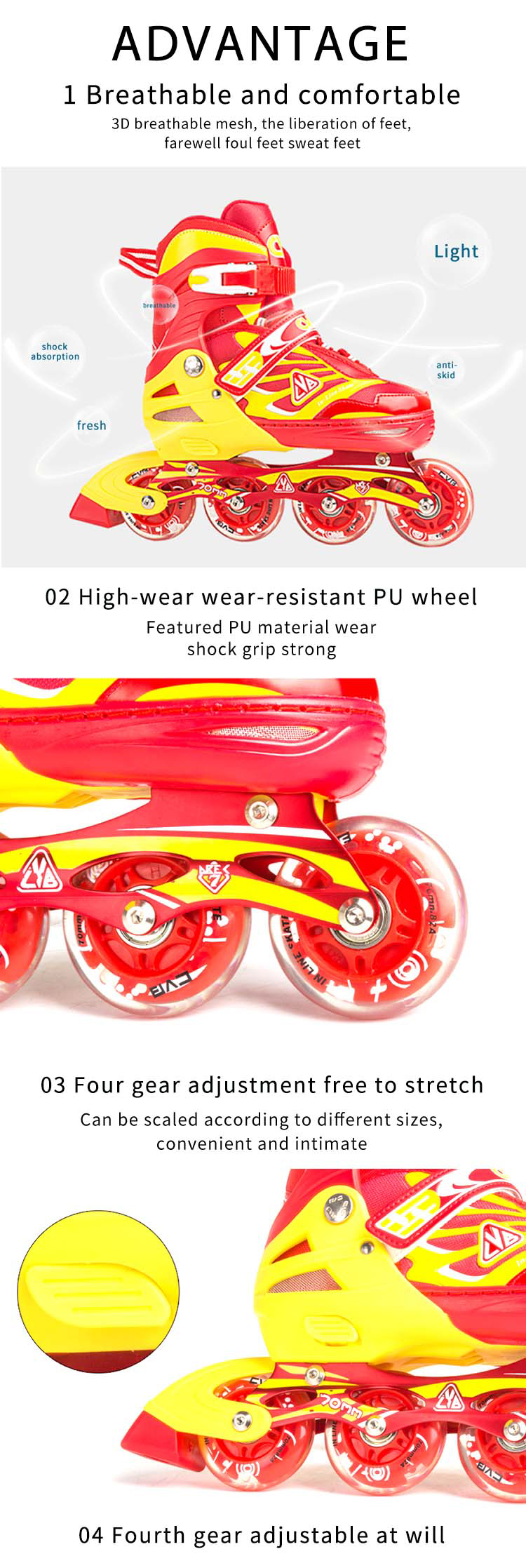 Adjustable professional retractable 4 flashing wheels inline skate roller shoes With CE