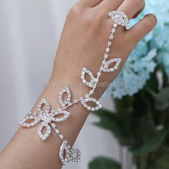 Leaf Design Wedding Finger Chain Ring Bracelet Slave With Bridal Bangle