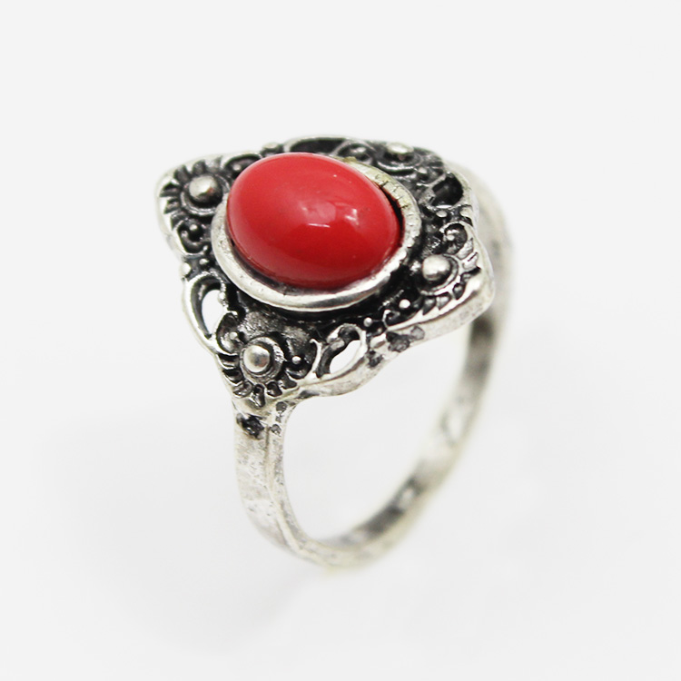 fancy red lucky stone finger ring 925 antique silver ring with natural stone