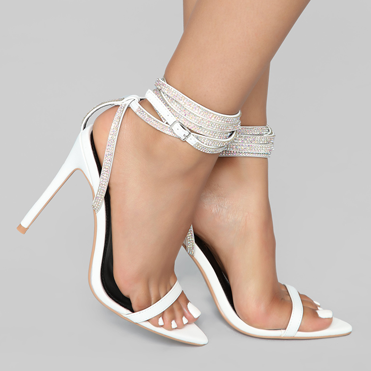 Wrap Up Strappy Rhinestone Shoes Open Toe women's shoes fashion ladies shoes sandals for women and ladies 2019 Stiletto Sandals